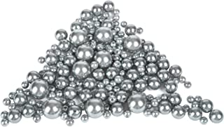Z-synka Assorted Plastic Bead Pearls,DIY Jewelry Necklaces, Table Scatter, Wedding, Birthday Party Home Decoration, Event Supplies (8 Ounce Pack, 100 Pieces) (Gray, 8mm/14mm/20mm)