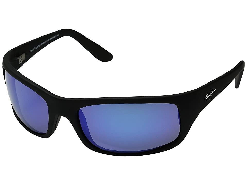 Maui Jim Peahi (Matte Black/Blue Hawaii) Plastic Frame Sport Sunglasses
