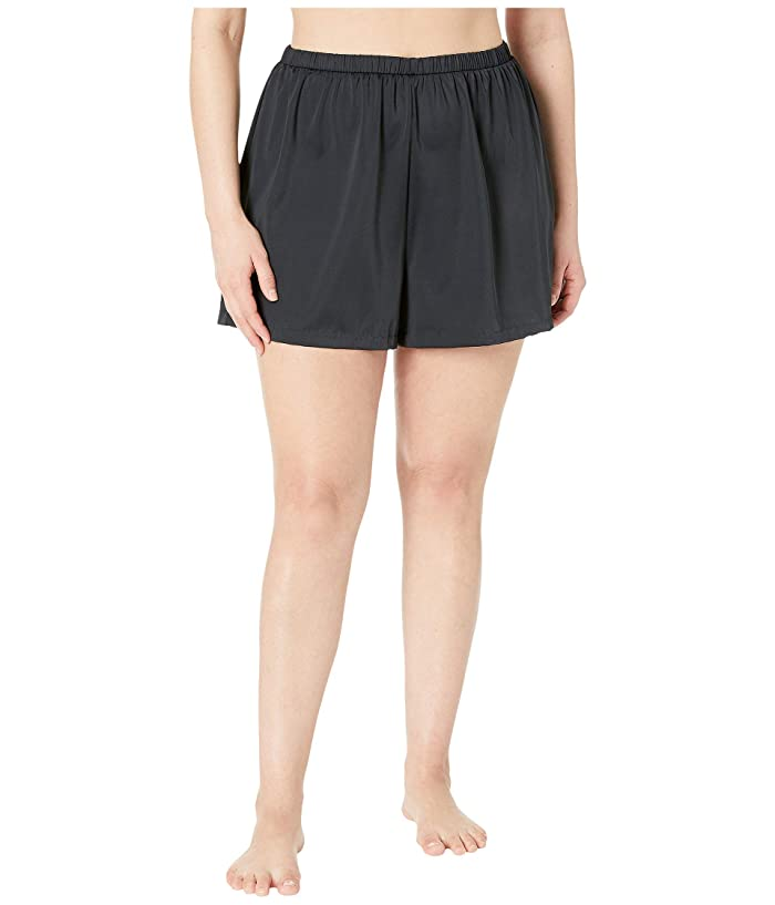 Maxine of Hollywood Swimwear Plus Size Solids Separate Jogger Short Bottoms (Black) Women