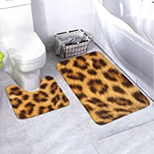 "Bath Rug Set 2 Piece BathroomTiger Skin Mat Sets Non Slip Microfiber Bath Shower Mat U-Shaped Toilet Rug Combo Set (35.4""x..."