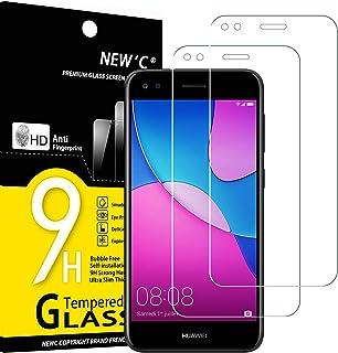 NEW'C 2-pack skärmskydd med Huawei Y6 Pro 2017 – Härdat glas HD klar 9H hårdhet bubbelfritt