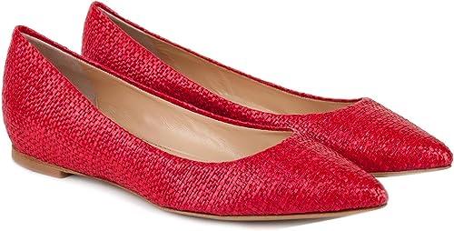L'Arianna zapatos Ballerina mujer BL 1011 Raffia rojo PE17