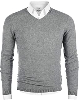 MOCOTONO Men's V-Neck Long Sleeve Pullover Casual Sweater (Medium, Light Gray)