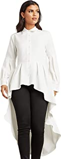 Frill Dip Hem Longline Shirt with Button Closure For Women Closet by Styli