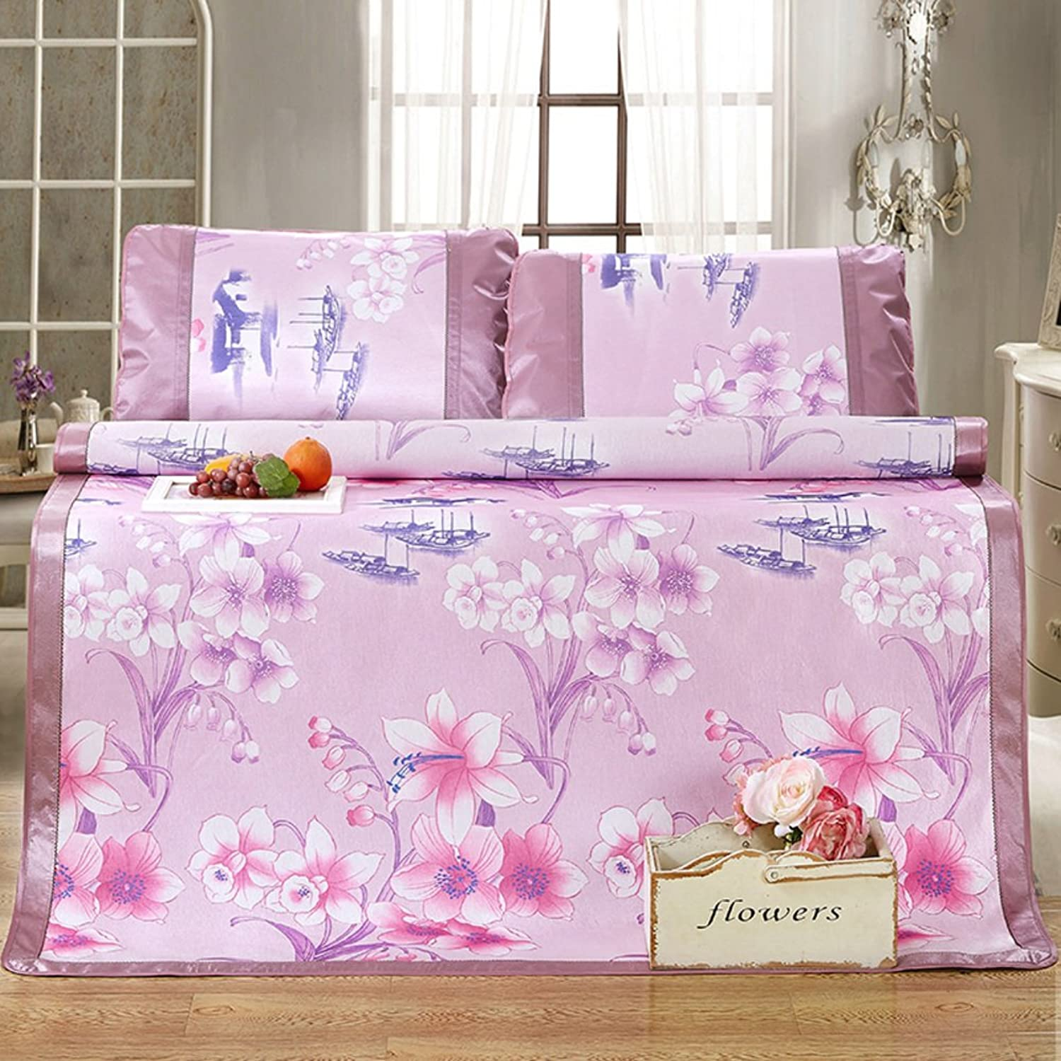 Summer Ice Silk Mat Three-Piece Foldable Printing Thick Air Conditioning Soft Seat(1 Mat+2 Pillowcase)-I Queen1
