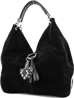 modamoda de - 330 - ital Handtasche Shopper Schultertasche Leder