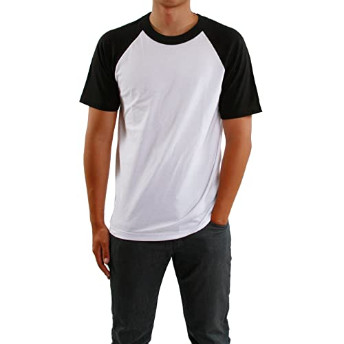 454b9a31 Mens Short Raglan Sleeve Baseball T-Shirt, Athletic Shirts Casual Tees for  Men,