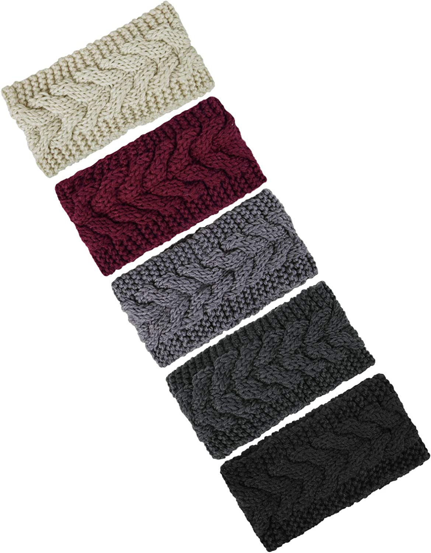 5 Pieces Ear Warmer Headband Women Winter Cable Knit Headband Twist Bowknot Ear Warmers Gifts Stocking Stuffers for Mom