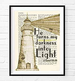Vintage Bible Page Verse Scripture - He Turns My Darkness into Light - 2 Samuel 22:29 Lighthouse Christian Art Print, Unframed, Christian Wall and Home Decor Poster, All Sizes