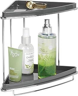 mDesign étagère d'angle pour salle de bain autoportant – rangement pratique 2 niveaux idéal pour shampooing, gel douche et...