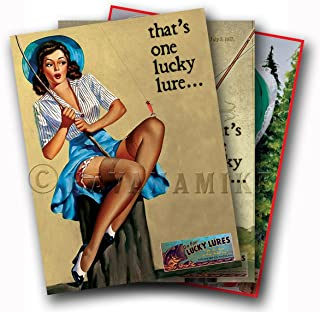SET of Three (3) LUCKY LURES Vintage Fishing Ad Art Poster Pinup Prints - each measures 24