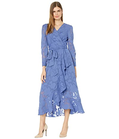 Tahari by ASL Chiffon Textured Burnout Long Sleeve Dress with Side Tie (Periwinkle) Women