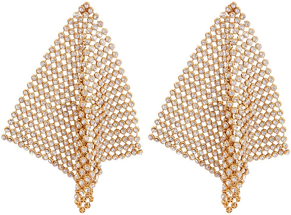 Gold Mesh Glistening Crystals Drop Earrings Lightweight Metal Mesh Grid Tassel Dangle Earrings for Women Girl Fashion Long Hook Earrings Wedding Party and New Year's Dancing Party Jewelry