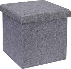 Pouf Pliable de Rangement, Siège de Boîte de Rangement Cube, Lin Gris, 30 x 30 x 30cm