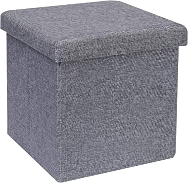 "B FSOBEIIALEO Storage Ottoman Cube, Linen Small Coffee Table, Foot Rest Stool Seat, Folding Toys Chest Collapsible for Kids Grey 11.8""x11.8""x11.8"""