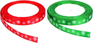 Shappy Total 40 Meters (10 mm Wide) Christmas Red and Green Satin Ribbon with Snowflake Pattern, 20 Meters Each Color