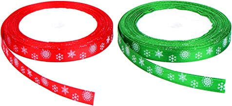Total 40 Meters (10 mm Wide) Christmas Satin Ribbon with Snowflake Pattern (Red and Green)