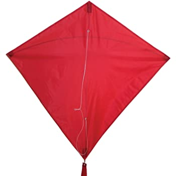 In the Breeze Red 30 Inch Diamond Kite - Single Line - Ripstop Fabric - Includes Kite Line and Bag - Great Entry Level Kite