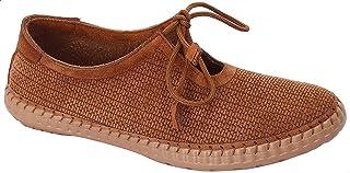 حذاء جلد برباط مزين بخياطة للنساء من جرينتا