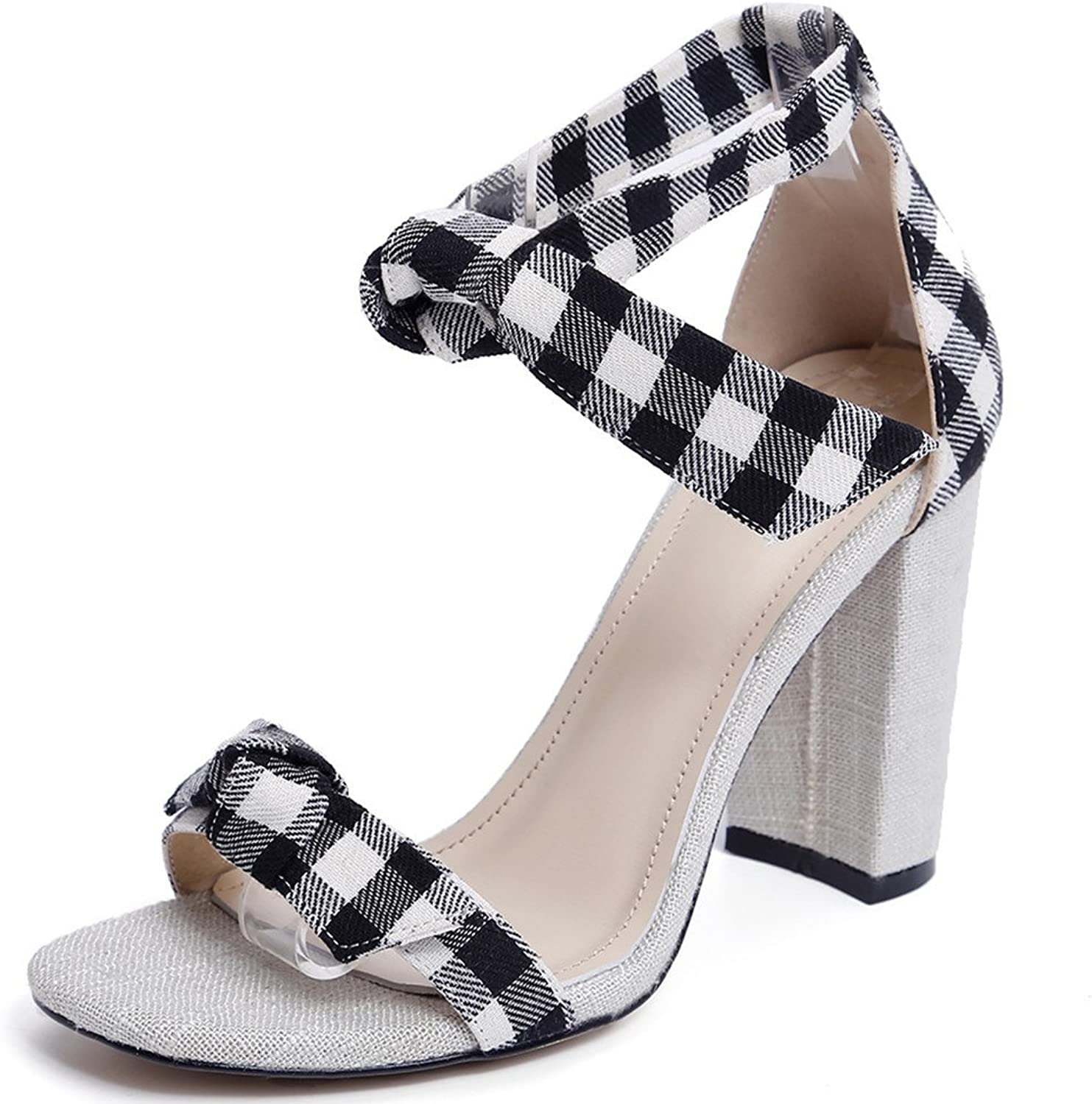 Nine Seven Fabric Women's Open Toe Chunky Heel Plaid Handmade High Heels Dress Sandals with Bow