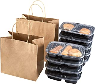 TAKE Away Bags Brown Kraft Paper Bags with Handles 11