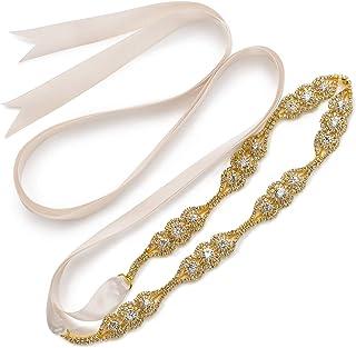 Boda Vestido Faja Cintura Cinturón Cinta de Raso de Brillantes Diamantes de Imitación de Novia para Mujer