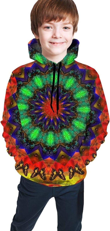 Boys Girls Hoodie, Kaleidoscope Unisex 3D Printing Teenager Sweatshirt Kids Children's Sweater for Age 7-20