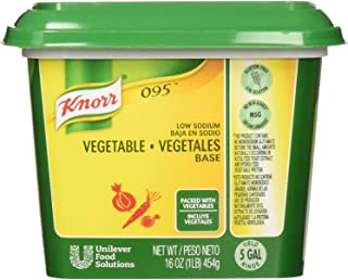 Knorr Professional 095 Low Sodium Vegetable Stock Base Gluten Free, No added MSG, 0g Trans Fat, 1 lb, Pack of 12