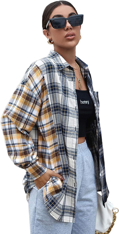 SweatyRocks Women's Casual Long Sleeve Button Down Plaid Blouse Boyfriend Overshirt