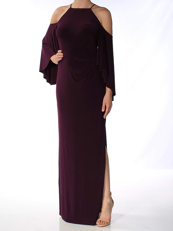 Lauren Ralph Lauren Womens Cold Shoulder Halter Evening Dress Purple 10