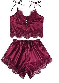 DIDK Women's Lace Trim Bralette Shorts Pajama Set Lingerie Nightwear