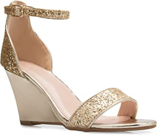 b9acf4c38e02 OLIVIA K Womens Ankle Strap Wedge Heel Sandals - Adorable Glitter Open Toe  - Casual
