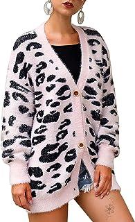 Byinns Womens Leopard Cardigan Sweater Knitted Long Sleeve Open Front Button Down Warm Coat Loose