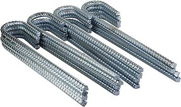 Pinnacle Mercantile 16 Pack Anti Rust Rebar Stakes J Hook Heavy Duty Galvanized Steel Ground Anchors 12 inch Long 3/8 inch...