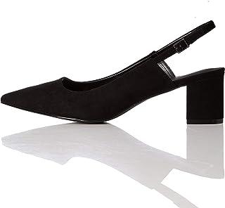 find. Point Block Heel Slingback, Scarpe con Cinturino alla Caviglia Donna