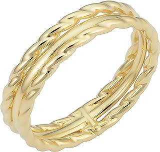 KoolJewelry Minimalist 14k Yellow Gold 4.7 mm Triple Band Ring