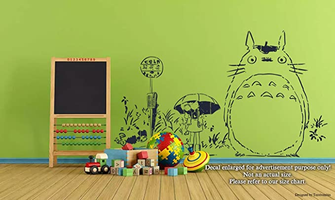 Amazon.com: Japanese Anime Cartoons Characters Wall Decals Satsuki Mei and Totoro My Neighbor Totoro Stickers Decorative Design Ideas for Your Home or Office Walls Removable Vinyl Murals EC-0408 : Tools & Home Improvement
