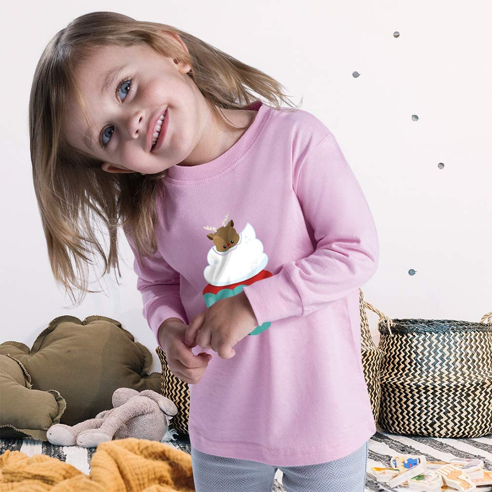 Custom Kids Long Sleeve T Shirt Blue1 Deer Cupcake Cotton Boy & Girl Clothes