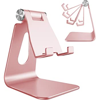 Adjustable Cell Phone Stand, CreaDream Phone Stand, Cradle, Dock, Holder, Aluminum Desktop Stand Compatible with iPhone Xs Max Xr 8 7 6 6s Plus 5s Charging, Accessories Desk,All Smart Phone-Rose Gold