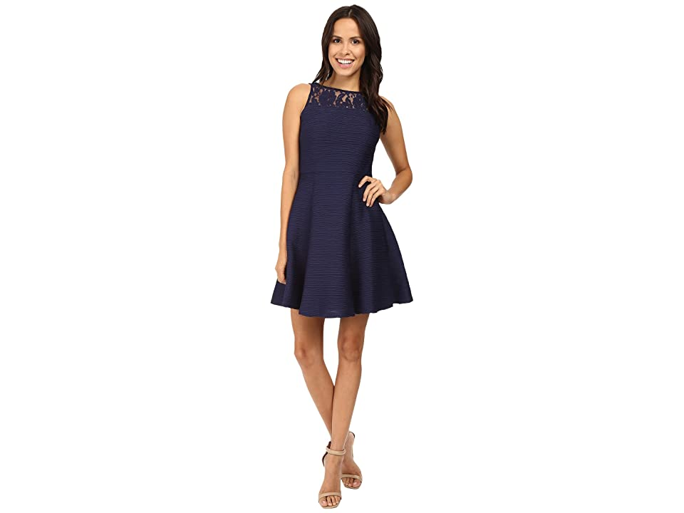 Taylor Corded Knit Lace Fit Flair Dress (Navy) Women