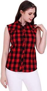 GSAMALL Fashion Checks Sleeveless Multi-Color Casual Shirt for Women/Girls