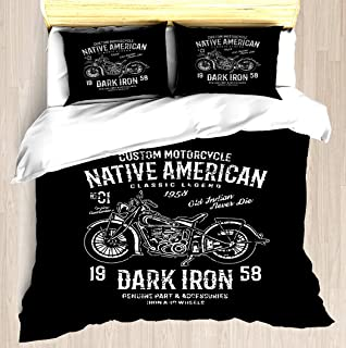 NTCBED Custom Motorcycle Retro Vintage - Duvet Cover Set Soft Comforter Cover Pillowcase Bed Set Unique Printed Floral Pattern Design Duvet Covers Blanket Cover King/Cal King Size