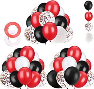 62 Pieces Black Red Confetti Balloons Kit, 12 Inches Black Red White Confetti Balloons with Balloon Ribbon for Baby Shower...
