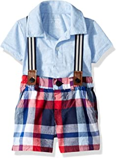 The Children's Place Baby Boys Polo Bodysuit Suspender Short Set