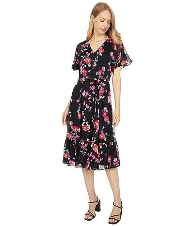 Calvin Klein Floral Print Ruffle Sleeve Dress with Self Tie Belt Women