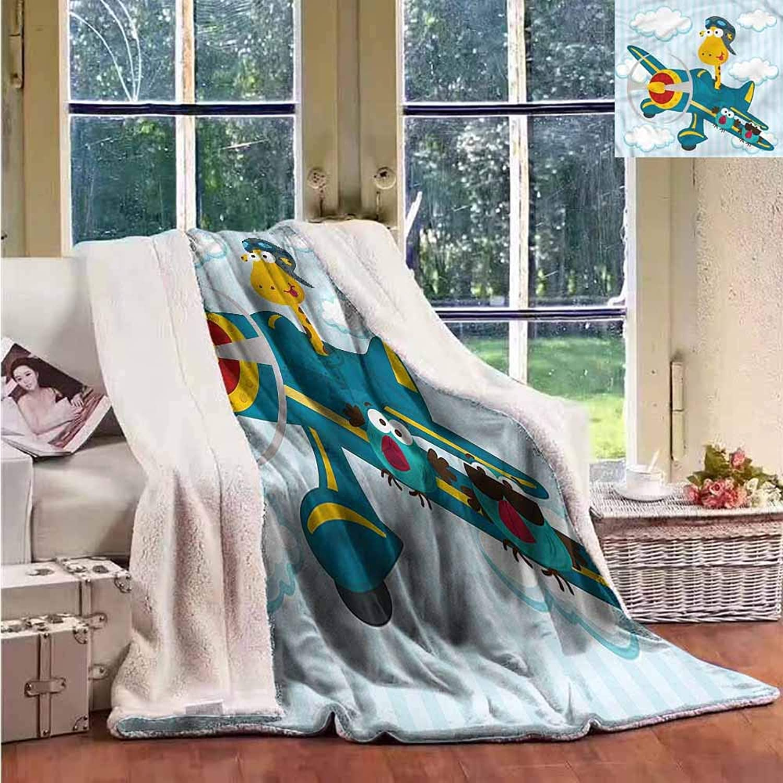 Sunnyhome Throw Blanket Boys Room Plane with Two Birds Washable Shaggy Fleece Blanket W59x31L