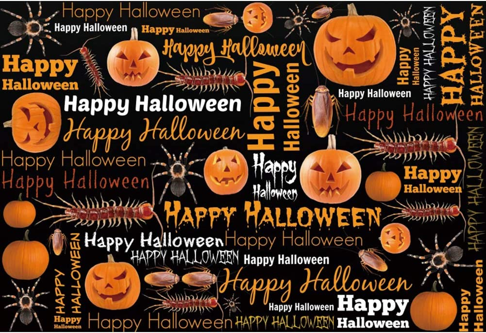 Laeacco Happy Halloween Background Quality inspection Very popular Photo Grimace 8x6.5ft Pumpkin