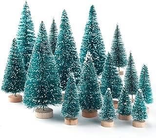 OLANZH Artificial Mini Christmas Trees,34Pcs Christmas Mini Table Tree,Mini Sisal Snow Frost Trees Bottle Brush Trees Mini Christmas Tree Pine Tree for DIY Room Decor Home Table Top Decoration