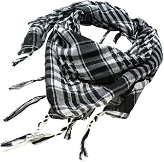 TRIXES Black & White Desert Shemagh Scarf Keffiyeh Lightweight Cotton Military Style