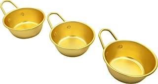 Abkitchen Korean Traditional Wine Bowls Korean Raw Rice Wine Hiking Soup Dish 4.7 inches 3 pcs Aluminum Yellow Made in Korea